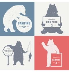 Sign Bear Camping vector image vector image