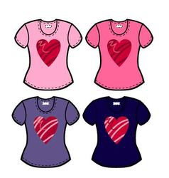 valentines t shirts vector image vector image