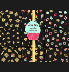 9 pattern set with doodle sweets vector