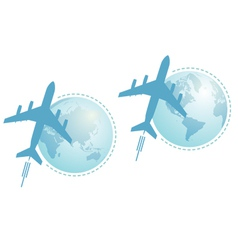 airplane and globe set vector image