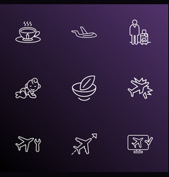 Airport icons line style set with vegan food vector