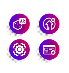 Augmented reality seo gear and loan percent icons vector