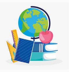 back to school globe notebooks books ruler apple vector image