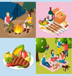 bbq grill picnic isometic icon set vector image