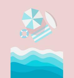 beach top view vertical banner umbrella vector image
