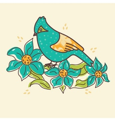 bird with flowers vector image
