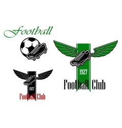 Black and green football or soccer emblems vector image