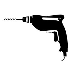Black silhouette with drill tool vector