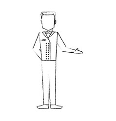Blurred silhouette full body faceless bellboy with vector