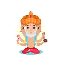 Brahma indian many faced god great god of vector