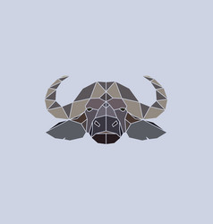 buffalo head geometric flat design style vector image