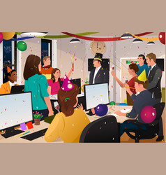 Business people celebrating new year vector