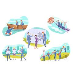 business teamwork cooperation set concept vector image