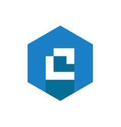 c letter logo icon combined with blue hexagon vector image