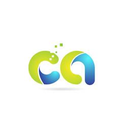 Ca c a blue green combination alphabet letter vector