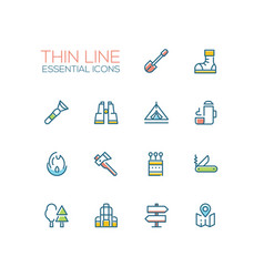 Camping and hiking - line icons set vector