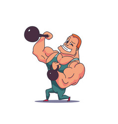Cartoon character muscle man with kettlebells vector