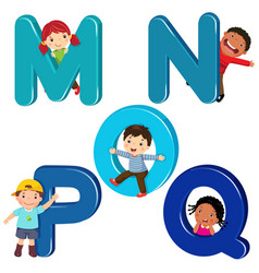 Cartoon kids with mnopq letters vector