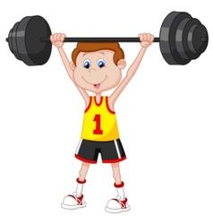 Cartoon man lifting barbell vector