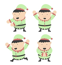 Christmas elves fat and different poses vector image vector image