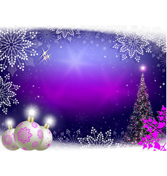Christmas purple background with balls vector