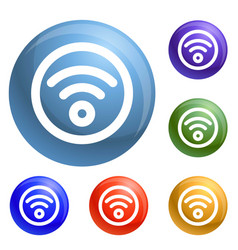 circle wifi icons set vector image