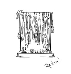 clothes rack vector image
