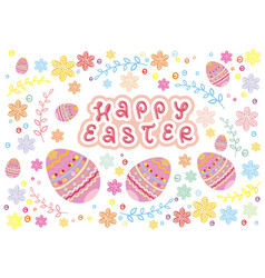 colorful easter eggs and branch with flowers vector image