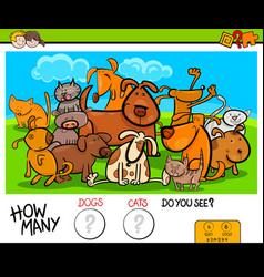 counting cats and dogs educational activity game vector image