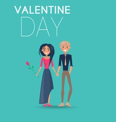 Couple in love on celebratory valentine day card vector