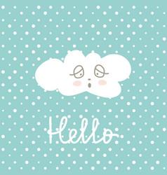 Cute happy cloud cartoon on polka pots background vector