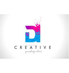 Di d i letter logo with shattered broken blue vector