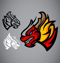 dragon red head emblem logo vector image