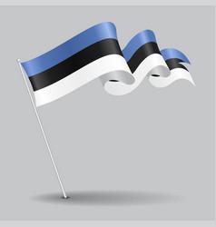 Estonian pin wavy flag vector