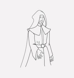 evil sorcerer icon line element vector image