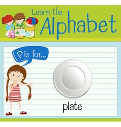 Flashcard letter P is for plate vector