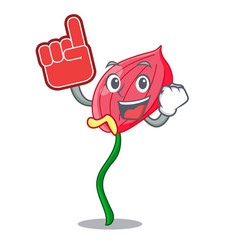 Foam finger pink anthurium flowers in character vector
