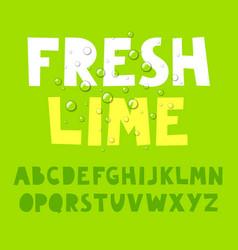 Fresh lime alphabet vector
