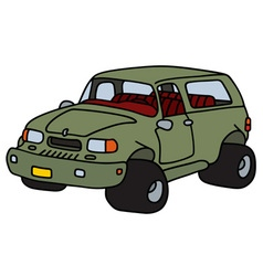 Funny green terrain car vector