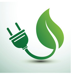 green eco power plug design vector image