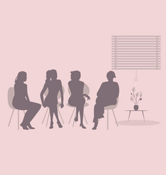 group of four women sitting together talking vector image