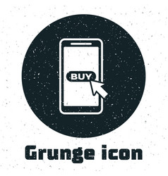 grunge mobile phone and shopping cart icon vector image