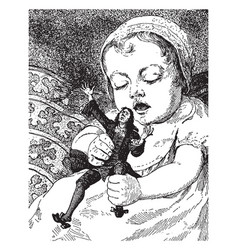 Gulliver and baby are playing vintage engraving vector