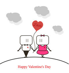 happy couple valentine39s day on white background vector image