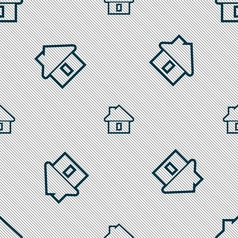 House icon sign Seamless pattern with geometric vector image