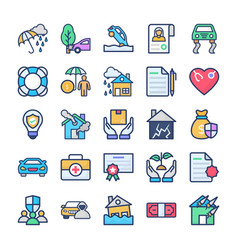 Insurance and disaster icons pack vector