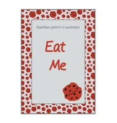 Invitation postcard Eat Me Cookie from Wonderland vector image