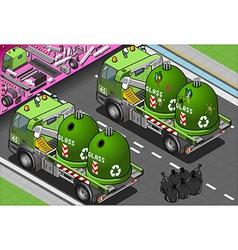 Isometric Glass Garbage Truck with Container in vector