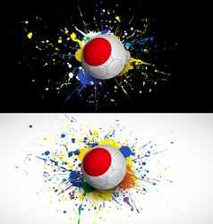 japan flag with soccer ball dash on colorful vector image