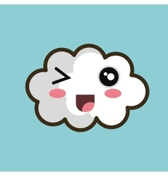 Kawaii cloud open mouth design vector